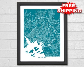 Oslo Map Art - Map Print - Norway - Europe - World Map - Travel Gift - Home Map - Wedding Party Gift - Custom Map - Housewarming Gift