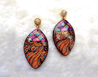 RESIN EARRINGS - Colorful Earrings,Earrings Handmade,Squid Earrings,Earrings Dangle,Resin Earrings Dangle,Resin Jewelry,Jewelry Earrings
