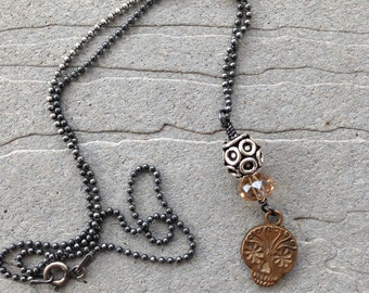 "Anne Choi 'El Dia De los Muertos"" (Day of the Dead) Sugar Skull Oxidized Sterling Chain by SeeJanesBeads"