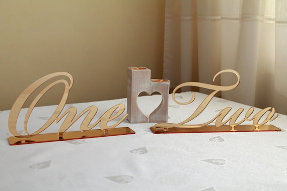 Gold Table Numbers Event Decor Word Stands Script number Custom Wedding Calligraphy Sign Wedding Table Decor Freestanding table Number one