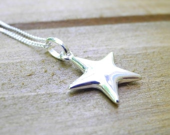 Sterling Silver Star Necklace, Star Necklace, Charm Necklace, Silver Star Necklace, Silver Star Pendant