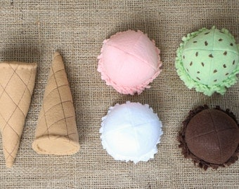 Pretend Play - Magnetic Felt Ice Cream Waffle Cone Set
