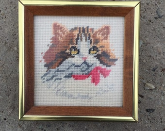 Retro Cat with a Bow Needlepoint Art in Wood Frame
