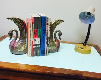 Hand Painted Solid Brass Art Deco Swan Bookends
