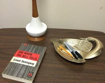 Solid Brass Swan Dish Figurine Mid Century Modern
