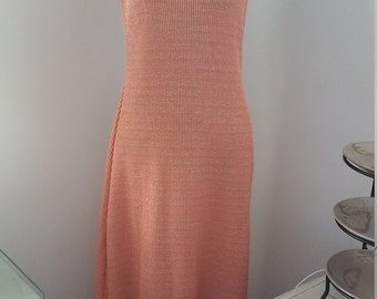 Peach Metalic Knit Maxi Dress Size 12