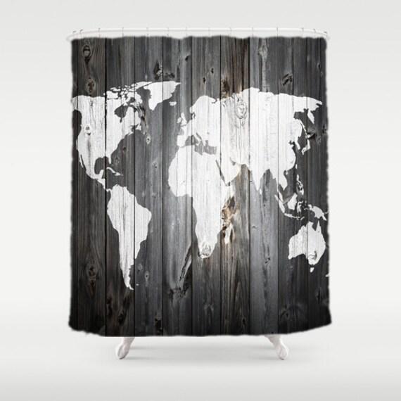 Wereld kaart douchegordijn schuur hout op stof badkamer decor - Mand een machine huis ter wereld ...