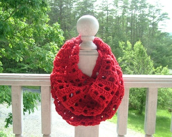 25 PERCENT OFF- Red Infinity Scarf – Hand Crocheted – 100% Acrylic