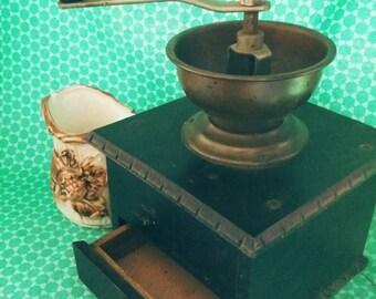Antique German Wooden Coffee Grinder Numbered 65