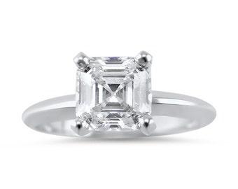 1 Carat Asscher CZ Solitaire Engagement Ring, 14k White gold, 14k Yellow gold , 14k  Rose gold, CZ Asscher engagement ring, Bridal,solitaire