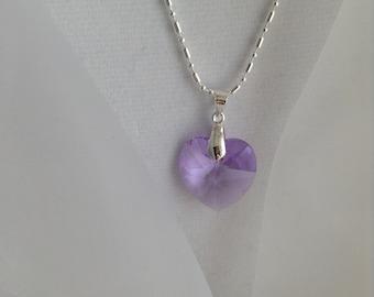 Swarovski SALE - Lush Lilac Heart Swarovski Pendant and 925 Sterling Silver Fancy Chain Necklace