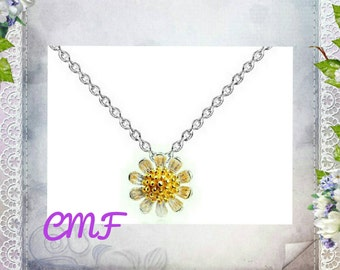 Daisy Necklace 925 Sterling Silver Necklace Daisy Pendant