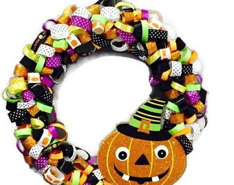 "13"" Halloween Ribbon Wreath"