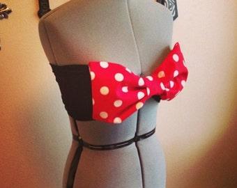 Minni Mouse inspired Red Polka Dot Bow Bandeau Bikini Top