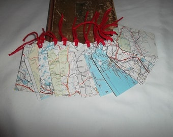 Handpunched Tags, Repurposed from Vintage Maps, Set of 10, All Large Tags
