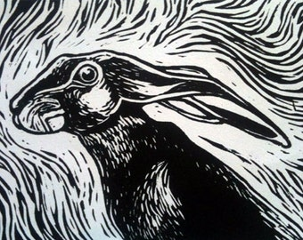 "Linocut ""Wild Hare"""