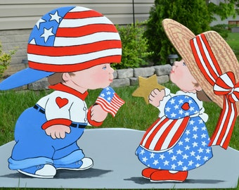 July 4th Independence Day Amaerican flag two children