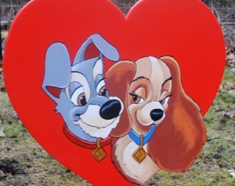 Lady and the tramp Valintines Day Heart lawn art lawn stake