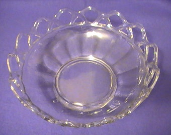 "Clear Glass ""Lace"" Bowl From The 60's"