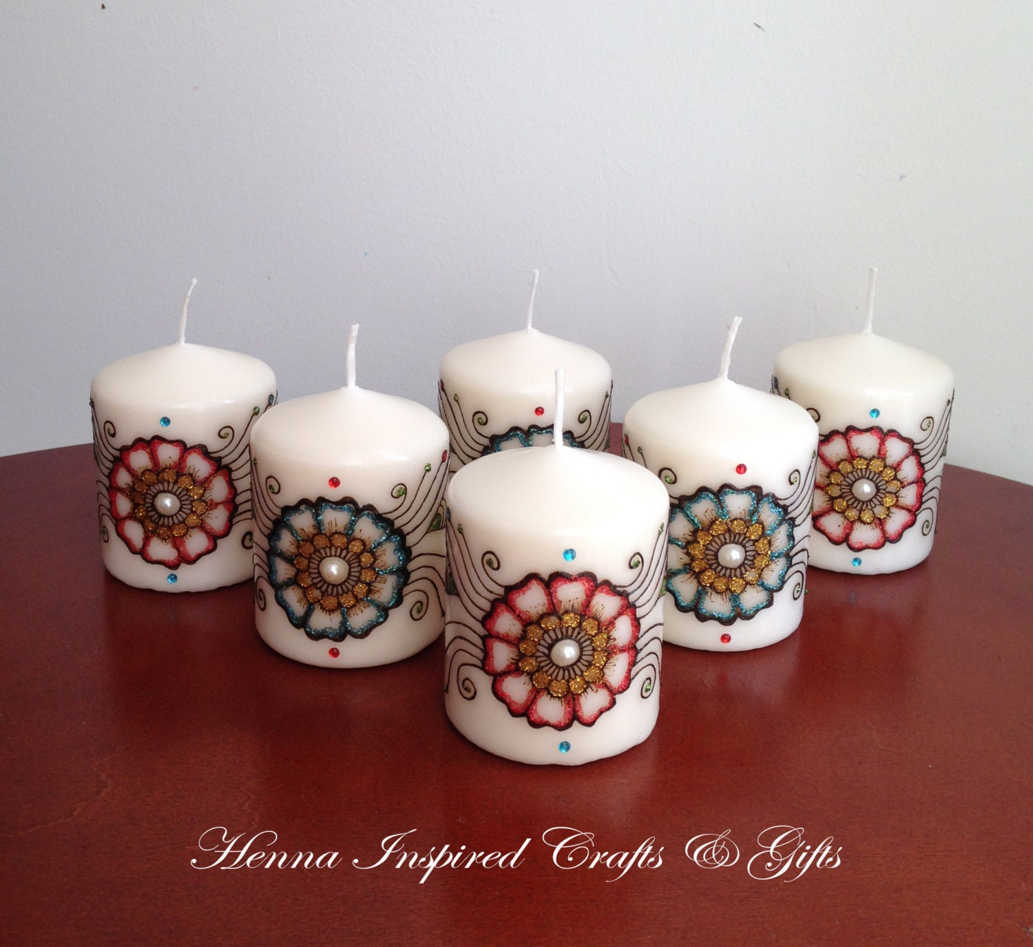 Set of 6 candles Indian Wedding Favors Henna Candle Party
