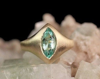 ON SALE 0.86 Ct 11x6 mm Genuine Marquise Shape Green Emerald 14k Yellow Gold Matte Handmade Ring