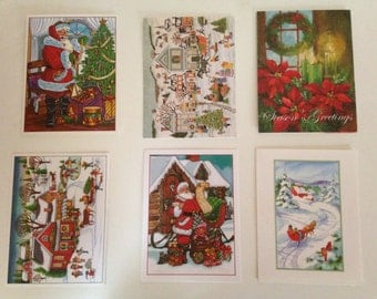 Vintage Christmas Greeting Cards a Set of 6 with  Envelopes