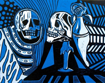 Vanitas Still Life, Reduction Linocut 2014, Blue and Black (Edition of 3)