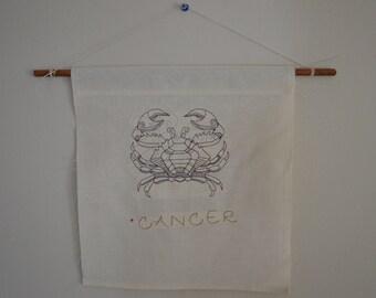 Cancer Zodiac Linen Wall Hanging