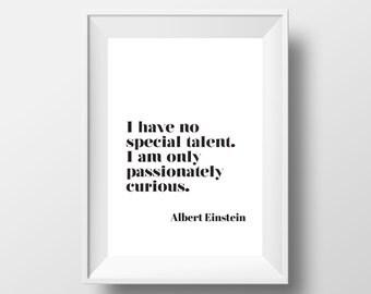 Typography Decal, Modern Print, Einstein Quote, Albert Einstein Print,  Modern Art, Albert Einstein Quote, Scandinavian Art, Typography Art