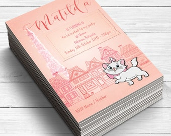 Marie Aristocats Invitations, Girls Birthday Party Invitations, French Party Invites, Aristocat birthday party, Cat invitations, cat lover