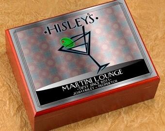 Personalized Cigar Humidor - Cigar Box Case Humidifier - Martini NY Swank
