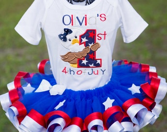 Patriotic 4th of July 1st First Tutu Set Red White and Blue Custom Personalized