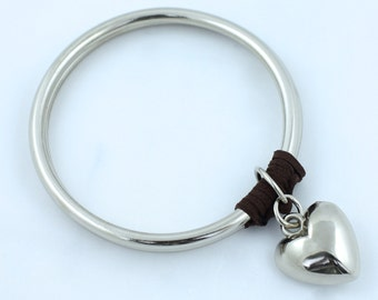 Silver Heart Charm Laced with Leather Bracelet