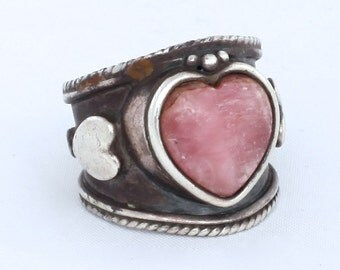 Vintage Southwestern Rose Quartz Heart Silver Ring