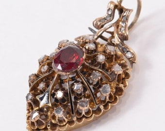 STUNNING Antique 14K Yellow GOLD Pendant with DIAMONDS & red stone (17g)