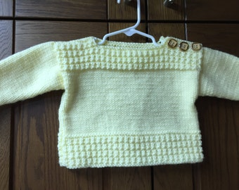 Boat Neck Pullover Baby Sweater - 12-24 Mo - Cream
