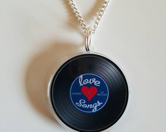 Love songs Vinyl Record Necklace valentine's gift