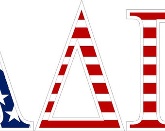 alpha delta pi american flag greek letter sticker 25