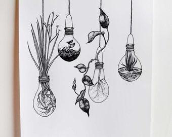 Light bulb Terrariums 'Growing Ideas', Illustration, A2 Black and White Screen Print