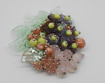 Vintage Layered Glass Bead Floral Brooch