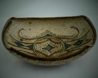 Superb studio pottery  dish by British studio potter Bernard Forrester (1908 - 1990), former associate of Bernard Leach