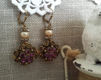Vintage Assemblage Earrings/Imperial Topaz/Vintage Glass Pearls