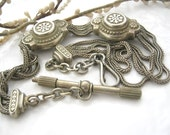 Antique Jewelry pocket Watch Chain -  Antique Victorian Fob Chain French antique pocket slide multi chain