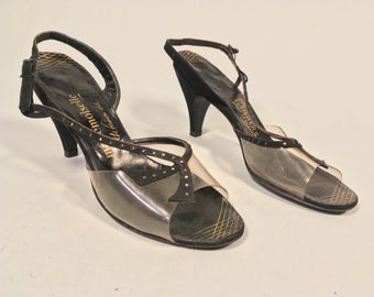 Vintage 1950s Shoes | Black and Clear Strappy Heels | Size 7N