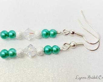 Jade Green Crystal Drop Earrings Jade Wedding Party Gift Swaroviski Crystal Drops Jade Bridesmiad Gift Mother of the Bride Jade Earrings