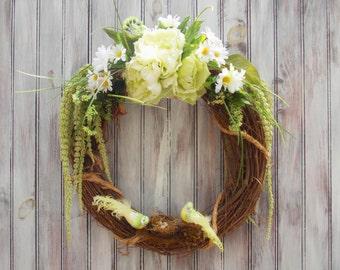 Door, Wreath, Grapevine, Green, Birds, Nest