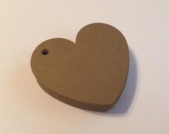 50 Kraft Heart Shape Tags, Wedding, Love, Craft, Kraft, Scrapbooking, Gift tags