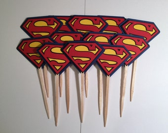 Superman Cup Cake Toppers - Set of 12