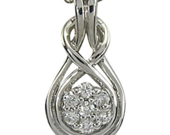 Love Knot Necklace In White Gold With A Flower Necklace Design & Diamond Accents
