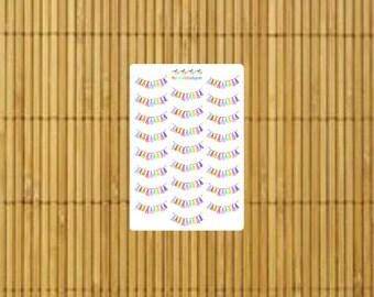 S031 - 24 Tassel Bunting Banner Stickers